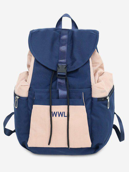 Contrasting Color Leisure Outdoor Backpack - DEEP BLUE