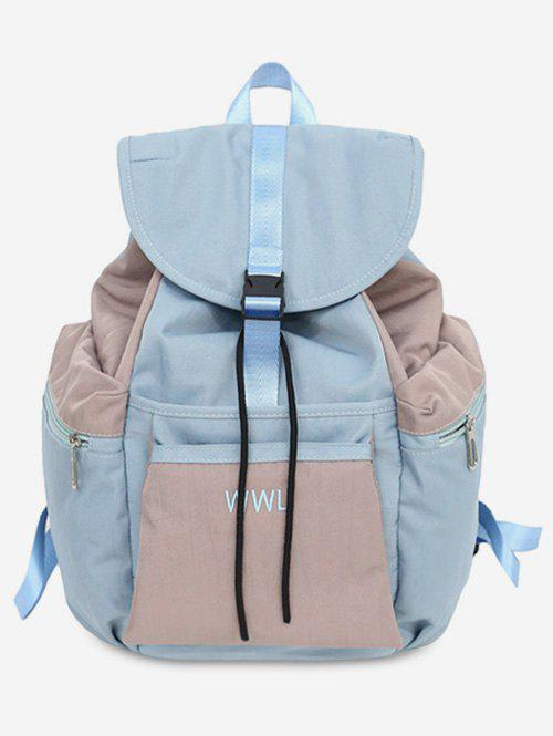 Contrasting Color Leisure Outdoor Backpack - JEANS BLUE