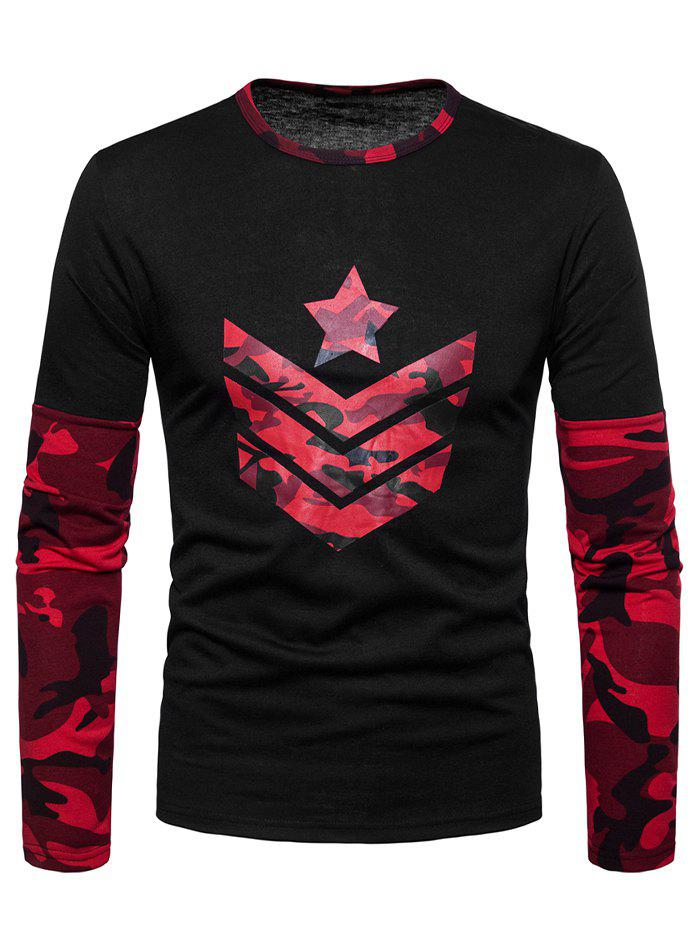 Star Arrow Print Camo Patch Long Sleeve T-shirt