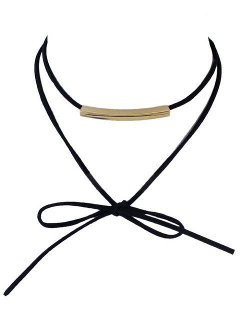 Bowknot Metal Layered Choker Necklace - BLACK