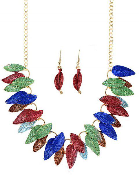 Leaves Decoration Chain Necklace with Earrings - multicolor
