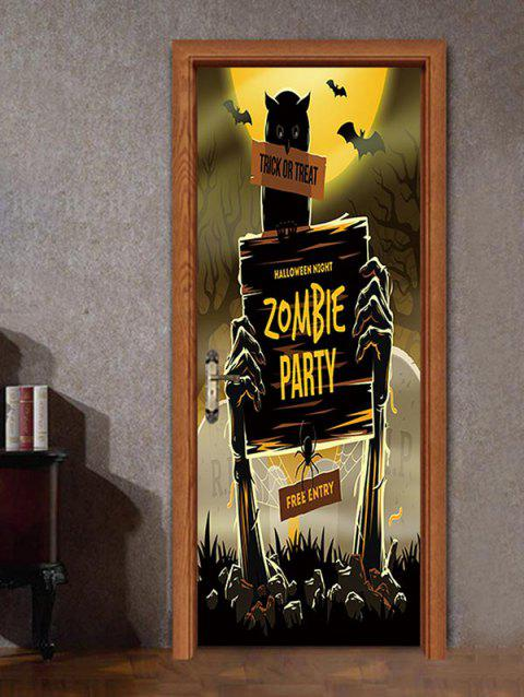 Halloween Zombie Party Pattern Door Stickers - multicolor 38.5*200CM*2PCS