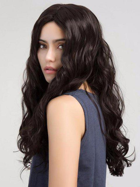 Long Middle Part Wavy Capless Synthetic Wig - BROWN