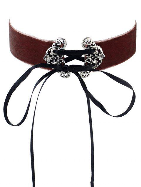 Wishful Buckle Choker Lace-up Necklace - BROWN