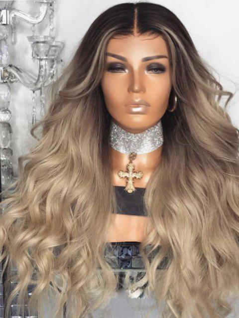 Center Parting Ombre Long Wavy Synthetic Wig Party Accessory - multicolor