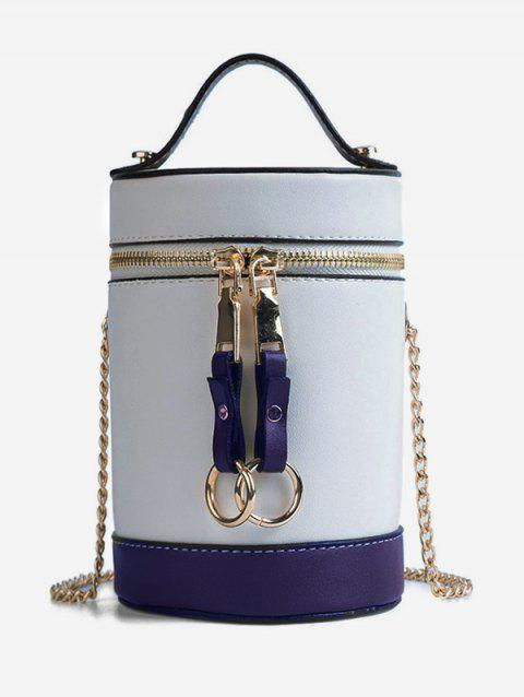Contrasting Color Metal Chain Bucket Bag - SILVER