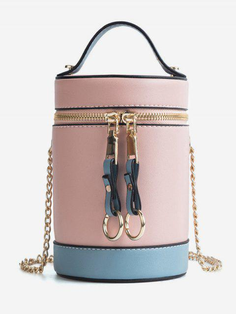 Contrasting Color Metal Chain Bucket Bag - LIGHT PINK