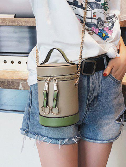Contrasting Color Metal Chain Bucket Bag - LIGHT KHAKI