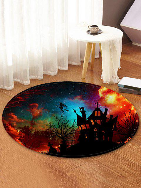 Galaxy Halloween Castle Pattern Round Flannel Rug - multicolor 80 CM (ROUND)