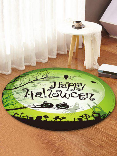 2019 Tapis Rond En Flanelle Motif Inscription Happy Halloween