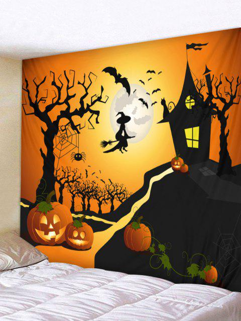 Halloween Moon Castle Print Tapestry Wall Art - ORANGE W79 INCH * L59 INCH