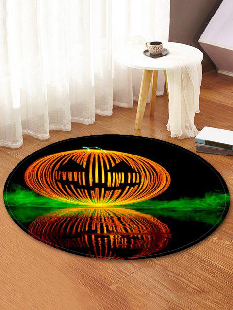 Halloween Pumpkin Lamp Pattern Round Flannel Rug - BLACK 60 CM (ROUND)