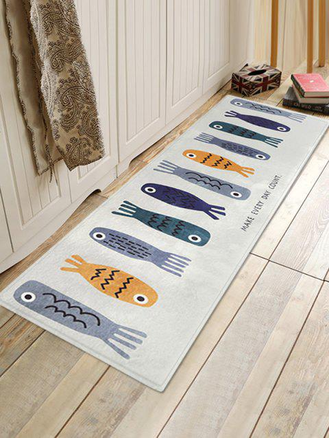 Cartoon Fishes Pattern Soft Anti-skid Area Rug - LIGHT GRAY W18 INCH * L47 INCH