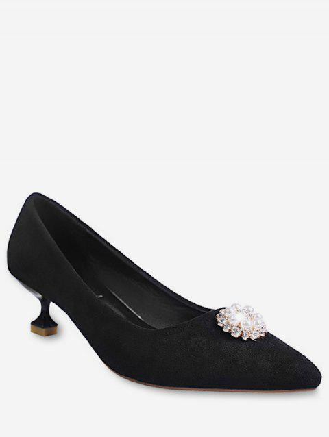 Diamante Stiletto Heel Suede Pumps - BLACK 39