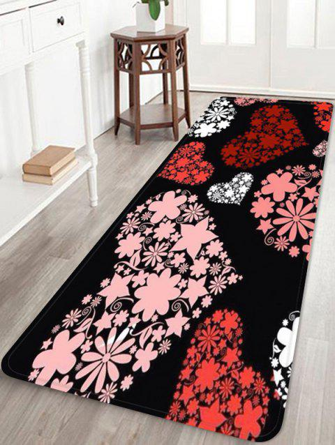 Love Heart Flower Printed Soft Anti-skid Area Rug - PINK W24 INCH * L71 INCH
