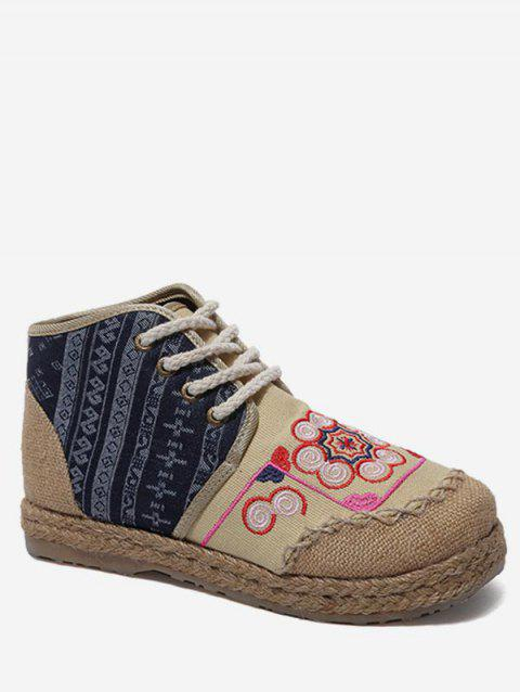 High Top Fisherman Lace Up Leisure Shoes - BEIGE 41