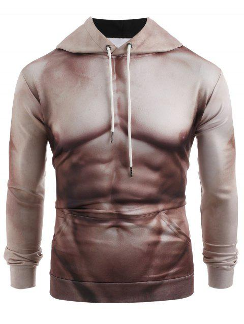 3D Muscle Print Pullover Loose Hoodie - CAMEL BROWN XL