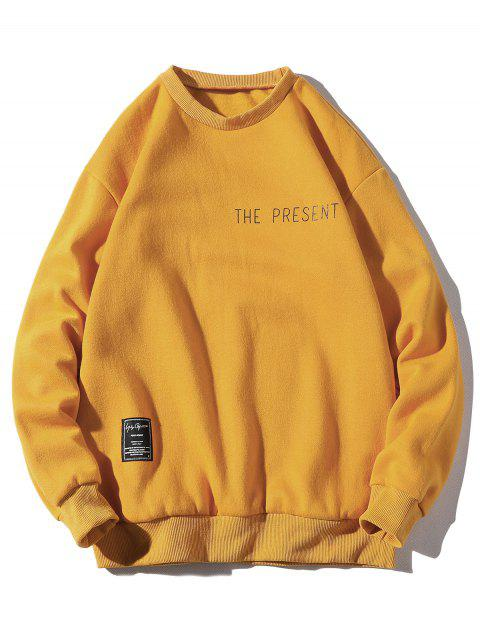 Letter Print Patch Detail Crew Neck Fleece Sweatshirt - YELLOW M
