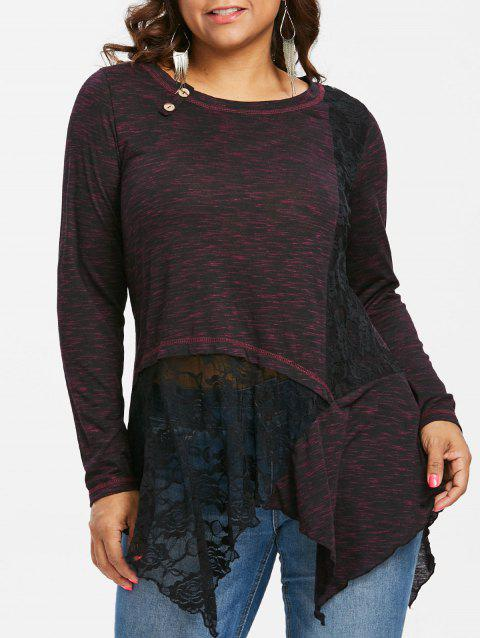 Plus Size Lace Detail Long Sleeve Top - RED 1X