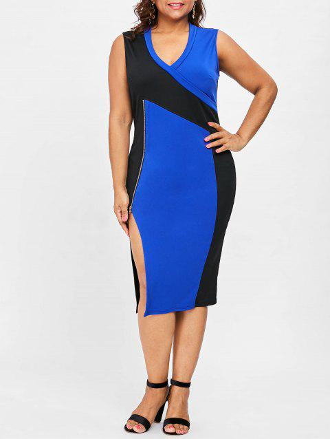 Plus Size Zipper Detail V Neck  Dress - BLUE 1X