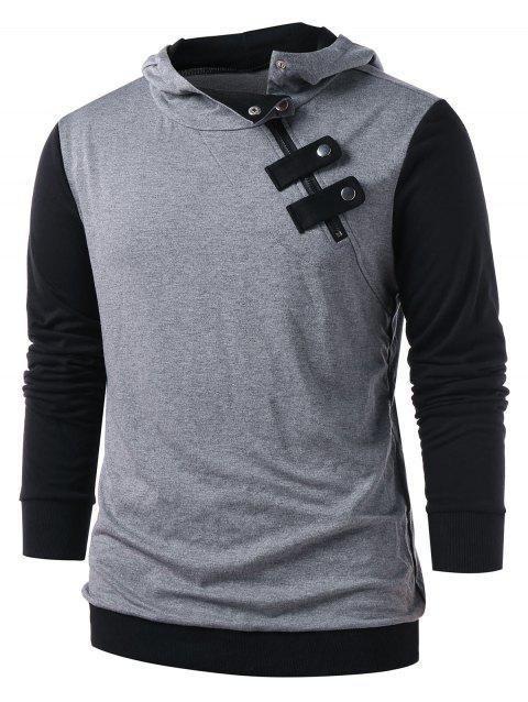 Panel Snap Button Embellished Casual Hoodie - GRAY M