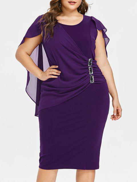 Plus Size Ruched Overlay Fitted Dress - PURPLE IRIS L