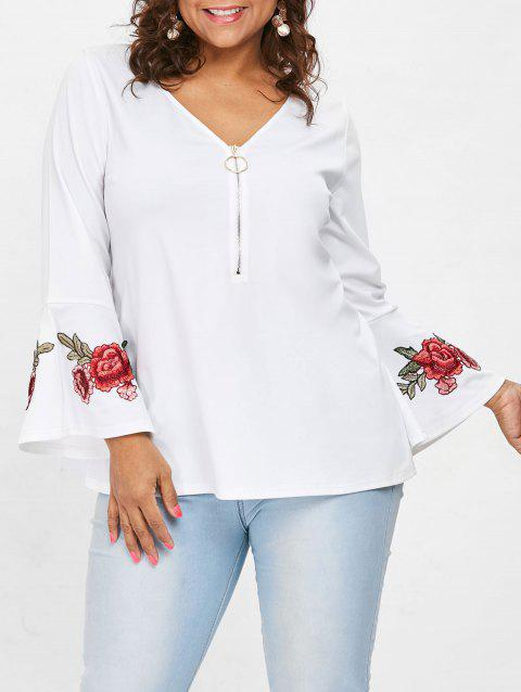 Plus Size Embroidered V Neck Blouse - WHITE 4X