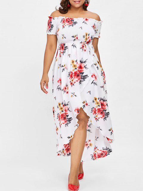 Plus Size Off Shoulder Floral Maxi Dress - WHITE L