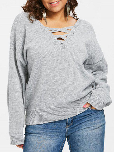 Plunge Plus Size Criss Cross Sweater - GRAY 1X