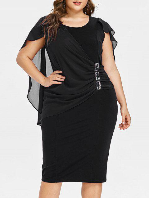 Plus Size Ruched Overlay Fitted Dress - BLACK L