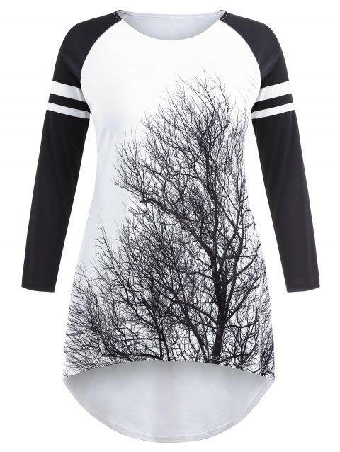 Striped Panel Sleeve Plus Size Tree Print Mini Dress - WHITE 2X
