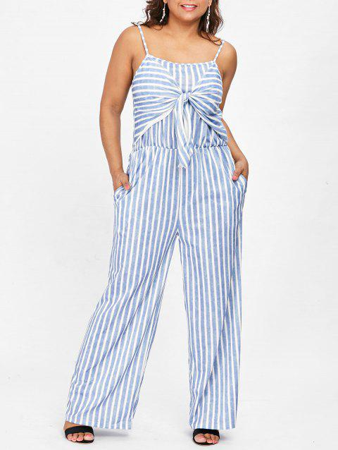 ebedc47e967 LIMITED OFFER  2019 Plus Size Wide Leg Striped Jumpsuit In BLUE ...