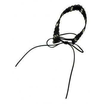 Lace-up Bowknot Wide Choker Necklace - BLACK