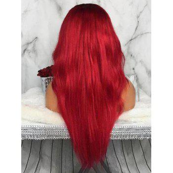 Middle Part Long Natural Wavy Party Capless Synthetic Wig - RED