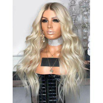 Heat Resistant Synthetic Middle Part Long Ombre Wavy Wig - multicolor