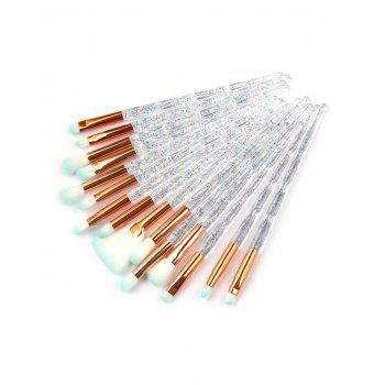 Professional 15Pcs Transparent Handles Soft Silky Eye Cosmetic Brush Set - TRANSPARENT