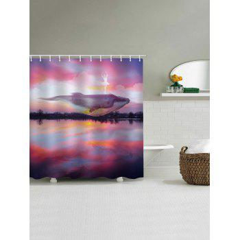 Sunset Dolphin Print Waterproof Shower Curtain - multicolor W65 INCH * L71 INCH