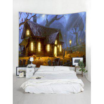 Halloween House Print Tapestry Wall Art - multicolor W71 INCH * L71 INCH