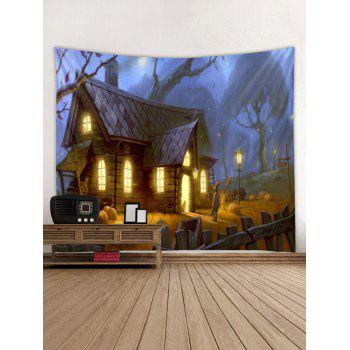 Halloween House Print Tapestry Wall Art - multicolor W91 INCH * L71 INCH