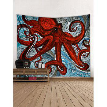 Sea Octopus Print Tapestry Wall Art - CHESTNUT RED W79 INCH * L59 INCH