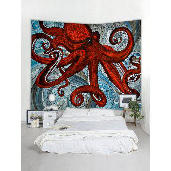 Sea Octopus Print Tapestry Wall Art - CHESTNUT RED W71 INCH * L71 INCH