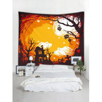 Halloween Ghost Print Tapestry Wall Art - ORANGE W91 INCH * L71 INCH