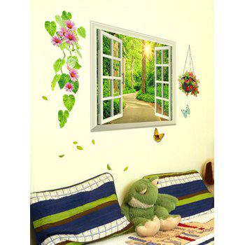 Shadeway Window Printed Removable Wall Sticker - multicolor