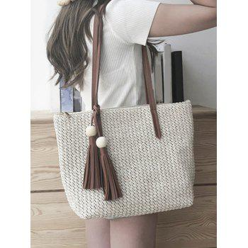 Casual Large Capacity Woven Tote Bag - BEIGE