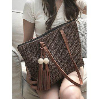Casual Large Capacity Woven Tote Bag - TAUPE