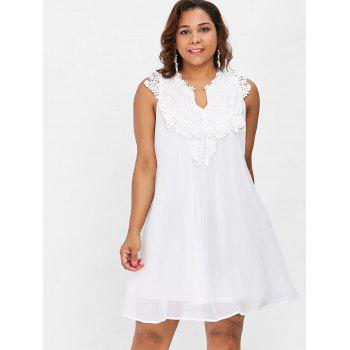 2018 Crochet Panel Short Plus Size Shift Babydoll Dress White Xl In