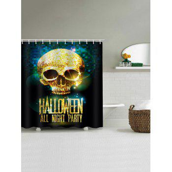 Halloween Night Skull Pattern Waterproof Bathroom Shower Curtain - multicolor W71 INCH * L79 INCH