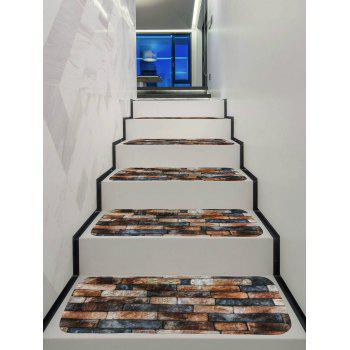 Brick Wall Decorative Stair Floor Rugs - multicolor 5PCS:28*9 INCH