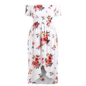 Plus Size Off Shoulder Floral Maxi Dress - WHITE 5X