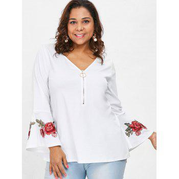 Plus Size Embroidered V Neck Blouse - WHITE L
